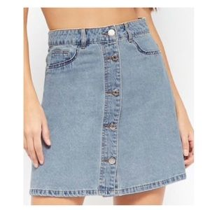 Noisy May Button-Front Denim Skirt